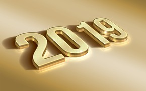 Picture New year, gold, 2019