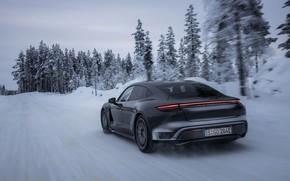Picture snow, black, Porsche, winter road, 2020, Taycan, Taycan 4S