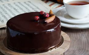 Picture tea, cake, glaze, drain