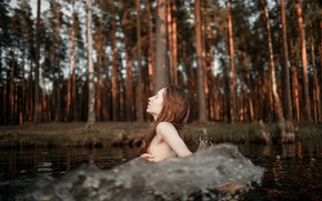 Picture girl, wave, in the water, Ekaterina Surkova