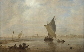 Picture landscape, boat, picture, sail, Jan van Goyen, Jan van Goyen, Fishermen pulling net