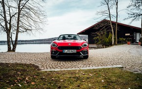 Picture red, shore, Roadster, spider, double, Abarth, 124 Spider