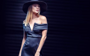 Picture pose, background, model, portrait, hat, figure, dress, blonde, Ashley