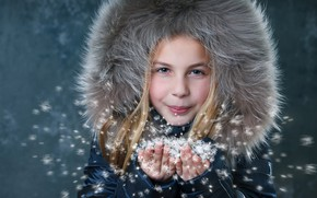 Picture winter, snow, jacket, girl, fur