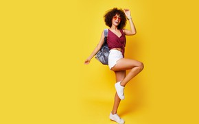 Picture girl, emotions, sweetheart, shorts, sneakers, cute