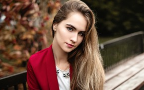 Picture look, trees, bench, Park, model, portrait, makeup, hairstyle, beauty, in red, bokeh, brown hair