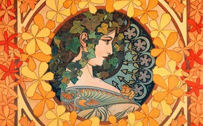Picture figure, painting, composition, Alphonse Mucha, Alfons Maria Mucha, female image, the girl with the ivy