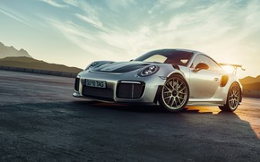 Picture Sunset, Auto, Porsche, Machine, Grey, Car, Render, GT2, The front, Transport & Vehicles, by Basil …