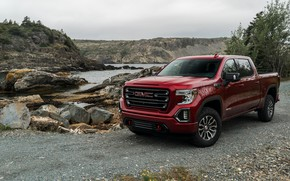 Picture red, pickup, pond, GMC, Sierra, AT4, 2019