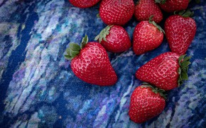 Picture berries, strawberry, fabric, blue background