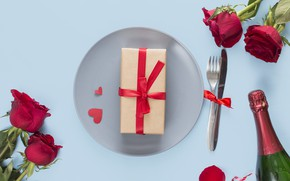 Picture gift, Love, roses, champagne