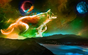 Picture the universe, planet, dog, constellation