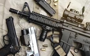 Picture machine gun, accessories, gun