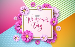 Picture flowers, pink, happy, March 8, pink, flowers, women's day, 8 march, women's day
