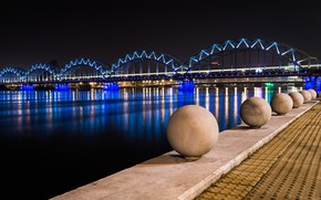 Picture metal, bridge, night, cement, ecultures spheres