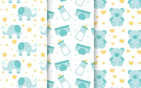 Picture Wallpaper, Baby, bears, patterns, collection, children's room