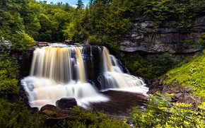 Picture greens, landscape, nature, waterfall