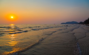 Picture sand, sea, wave, beach, summer, the sky, sunset, shore, summer, beach, sea, sunset, seascape, sand, …