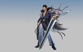 Picture background, sword, warrior, guy