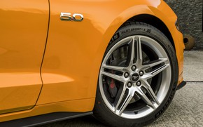 Picture orange, Ford, wheel, 2018, the front part, fastback, Mustang GT 5.0