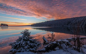 Picture winter, landscape, sunset, nature, lake, beauty, the evening