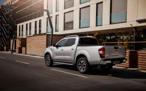Picture house, wall, Renault, pickup, 4x4, 2017, Alaskan, gray-silver