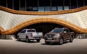 Picture grey, Parking, Renault, brown, 4x4, 2017, Alaskan, pickups