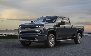 Picture Chevrolet, pickup, on the shore, Silverado, High Country, 2020, 2500 Heavy Duty