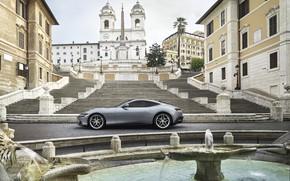 Picture Italy, fountain, Ferrari, supercar, side view, Roma, 2020