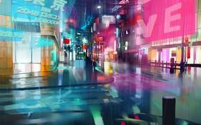 Picture the city, future, rain, cyberpunk