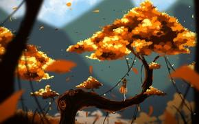 Picture Tree, Figure, Autumn, Fantasy, Landscape, Art, Fiction, Characters, Hinkos Eigeiter, by Hinkos Eigeiter, Fantasy world …