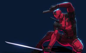 Picture pose, gun, sword, art, costume, comics, Deadpool, Deadpool