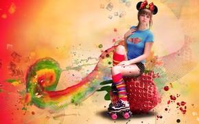 Wallpaper girl, videos, strawberry, bow