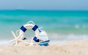 Picture sand, sea, beach, Lifeline, fishing boat, starfish