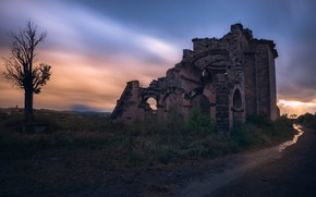 Picture road, sunset, old, castle, tree, the evening, ruins, twilight