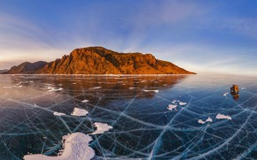 Picture ice, Baikal, Russia, car