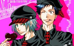 Picture art, guys, pink background, Katekyo Hitman Reborn, Valentine's Day. Valentine, Teacher mafia Reborn, Gokudera Hayato, …