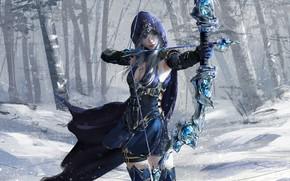 Picture girl, fantasy, game, forest, blue eyes, snow, League of Legends, digital art, bow, artwork, warrior, …