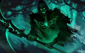Picture smile, death, skeleton, braid, undead