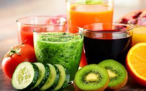 Picture orange, kiwi, juice, juice, tomatoes, orange, cucumbers, cocktail