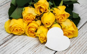 Picture roses, bouquet, yellow, heart, yellow, flowers, romantic, roses