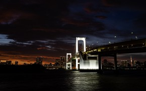 Picture city, lights, dark, wallpaper, twilight, river, bridge, water, buildings, horizon, backlight, 4k ultra hd background