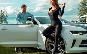 Picture machine, auto, girl, pose, figure, guy, jumpsuit, Dmitry Filatov