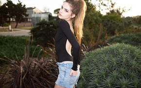 Picture girl, shorts, bodysuit, legs, brown hair, brown eyes, photo, ponytail, model, lips, face, brunette, plants, …