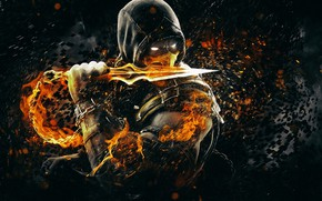Picture Fantasy, Fire, Art, Flame, Logo, Mortal Kombat, Scorpion, Character, Game Art