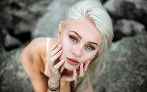 Picture look, face, pose, model, portrait, hands, makeup, actress, hairstyle, blonde, bokeh, Natalie Ganzhorn, Natalie Ganzhorn