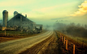 Picture Nature, Clouds, Sky, Landscapes, Roads, Fence, Houses, Farm, Barn, Rustic