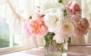 Picture roses, bouquet, vase