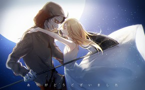 Picture girl, hugs, guy, two, Angel bloodshed, Satsuriku no Tenshi