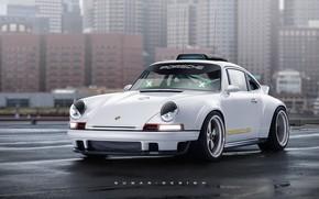 Picture Auto, The city, White, 911, Porsche, Machine, Art, The front, Singer, Transport & Vehicles, Porsche …